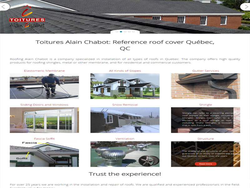 Roofing Alain Chabot is a company specialized in installation of all types of roofs in Quebec. The company offers high quality products for roofing shingles, metal or other membrane, and for residential and commercial customers..
